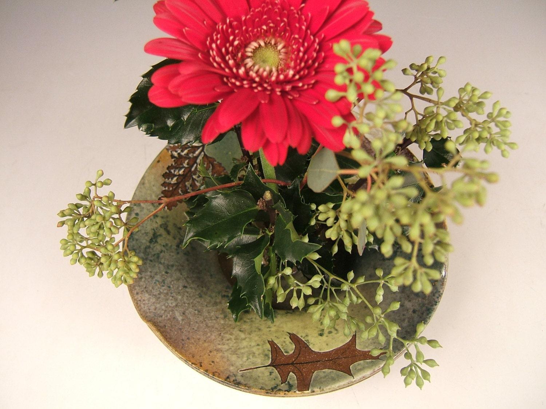Ready to ship ikebana vase in green leaf glaze with oak fern zoom floridaeventfo Images
