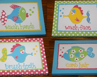 Children's FUNNY FISH Inspired Set PAINTINGS Girly Colors Version