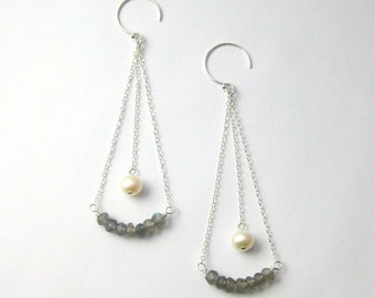 Labradorite Gemstone and Pearl Sterling Silver Dangle Earrings