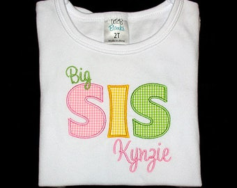 Custom Personalized Applique Big, Middle, or Little SISTER and NAME Bodysuit or Shirt - Pink, Yellow, and Lime Green Gingham