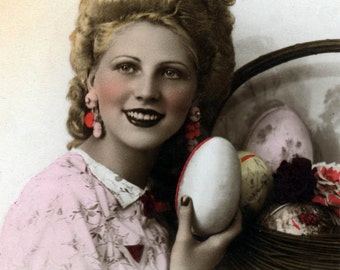 Vintage postcard French Colored Lady with Large Easter Egg Basket
