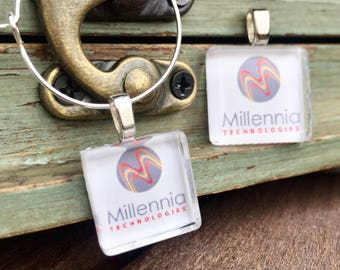 30 Company Logo Party Favor Charms | Client Customer Employee Appreciation Gift | Swag Bag Items | Corporate Event Party Favor | Fundraisers