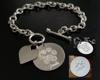 Paw Print Toggle or Lobster Charm Bracelet Nose Print Personalized FEEL IMPRESSION Engraved 925 Sterling Silver Memorial Actual Pet Dog Cat