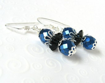 Royal Blue and Black Drop Earrings, Dainty Beaded Earrings, Czech Glass Bead Earrings, Cobalt Blue and Black, Metallic Blue Party Jewelry