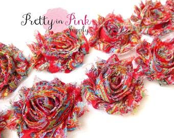RED PAISLEY  Shabby Rose Trim- Shabby Flowers- 1/2 Yard or 1 Yard- Shabby Chiffon Trim- Wholesale Shabby Flowers- Chiffon