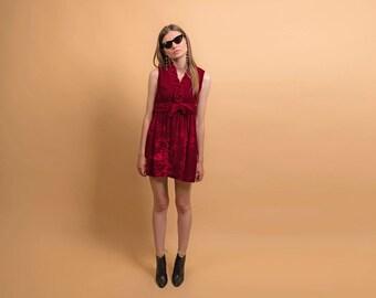60s Crush Velvet Mod Dress / Vintage 60s Dress / Mini Dress / Red Velvet Dress Δ size: M