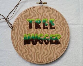 Tree Hugger hand embroidered hoop art / wall art home decor