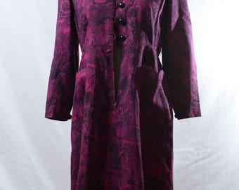 Vintage purple floral printed midi dress