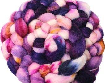 Viola - hand-dyed Polwarth wool and silk (4 oz.) combed top roving