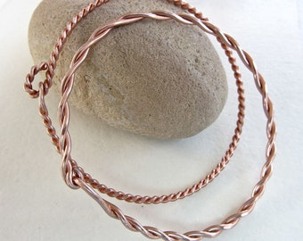 Copper twisted bangle 2 bracelets - handmade - wear them together, with your other bracelets or just by themselves