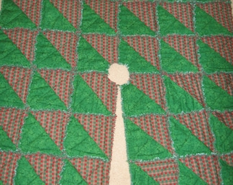 Square Rag Quilt Tree Skirt Mailed Paper Pattern by Sew Practical, Mom and Pop Craft