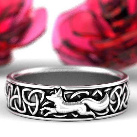 Sterling Silver Celtic Fox Ring, Fox Wedding Band, Mens Silver Band, Trillian Celtic Knot, Fox Jewelry, Trinity Celtic Ring Custom Size 1241