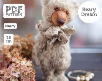 Artist Mohair Teddy Bear pattern, teddy bear pattern, teddy pattern, stuffed toy pattern, soft toy pattern, 25 cm, Marsy