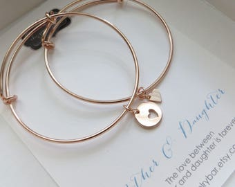 Mother of the bride gift from daughter, rose gold bangle sets, mother of the bride heart bracelets, wedding gift, adjustable, mother in law