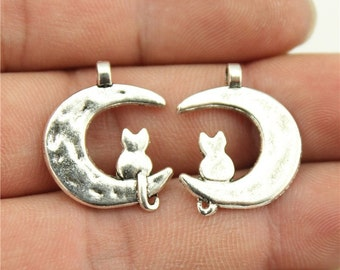 6 Cat and Moon Charms, Antique Silver Tone (1B-130)