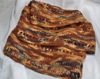 Santa Fe Kettle hand dyed handmade cowl scarf Merino blend wool soft ooak  L84