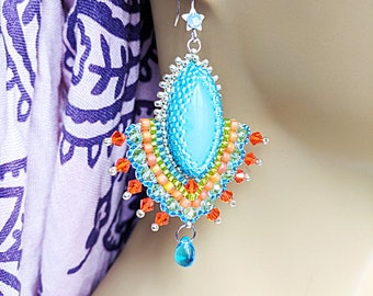 Kundan Style Earrings, Bollywood style earrings, Beaded earrings, Gemstone Earrings, Agate Earrings, Blue Earrings