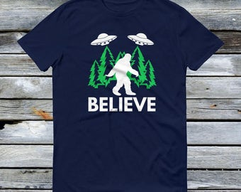 Bigfoot Sasquatch Believe T Shirt with UFO and Aliens