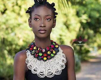 African bib necklace, African button bib,Ankara jewelry, necklace,  necklace,conversion piece, ethnic jewelry, Ankara collar, beads, rope