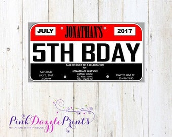Printable License Plate Birthday Invitation- Cars and Trucks Inspired Party Invitation- Save the Date- Announcement- Any Occasion