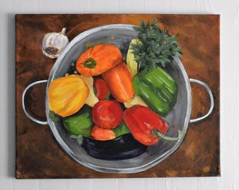 """Original Painting, 16x20, Peppers in Colander, Chef Gift, Vegetable Art, Foodie Art, by NJ artist Linda Robinson """"The More the Merrier"""""""