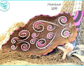 """Abstract Pink Swirl Hearts Handpainted Jewelry Tray, *white, pink, black* #1699 """"Heartbeat"""""""