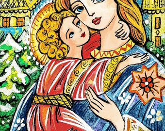 Winter Madonna child, Virgin Mary Jesus painting, mother child, church woman christian folk art, motherhood, feminine decor print 7x10+