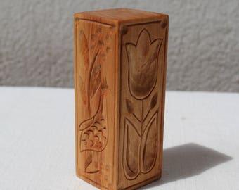 Hand carved alder wood biscuit mold/press