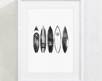 ART PRINT Original Watercolor Painting Fashion Illustration Chanel Black White Monochrome Surfboards Surf Surfing Luxury Wall Home Decor