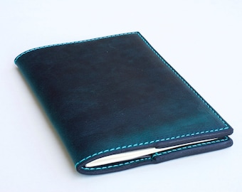 Journal, Leather Journal, Greenish Blue Leather Journal, Moleskine Leather Journal, Refillable Journal, Moleskine Cover, Field Notes Journal