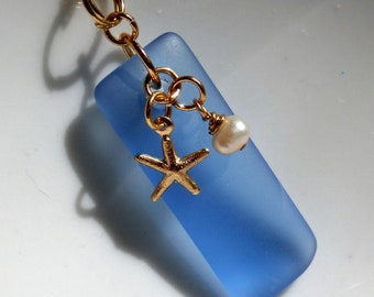 Blue Sea Glass And Gold Starfish Necklace With Pearl