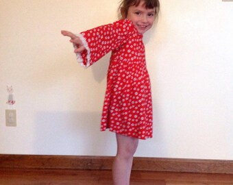 Toddler Red Floral Dress with Bell Sleeves