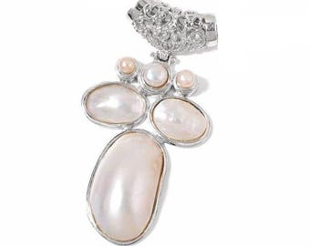 White Shell, Freshwater White Pearls Silvertone Pendant Without Chain