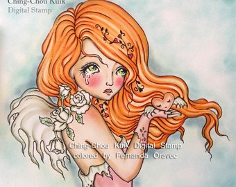 Withered Roses- Digital Stamp Instant Download / LOVE Flying heart Angel Fairy Girl by Ching-Chou Kuik