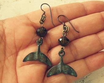 Whale Tail Earrings, Whale Earrings, Whale Tail Jewelry, Whale Jewelry, Whale Gift, Marine Life Jewelry, Patina Earrings, Patina Jewelry
