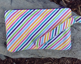 Multicolored Striped Wristlet