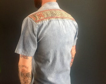 Men's Indigo dyed 100% Organic Cotton button up short sleeve collar shirt with Hmong tribal yoke batik detail with red applique, only 1 ever
