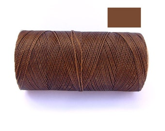 Jewelry String - Linhasita - Waxed Polyester Cord for Macrame -  Spool of 188 yards - TOPAZ BROWN