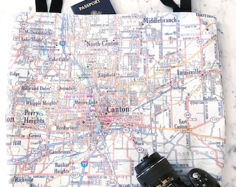 Canton Map Tote - Canton Map Bag - Canton Tote Bag - Canton Bag - Travel Tote - Canton Tote - Ohio Tote - Bachelorette Party