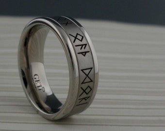 Custom Viking Rune Wedding Ring in Titanium Runes