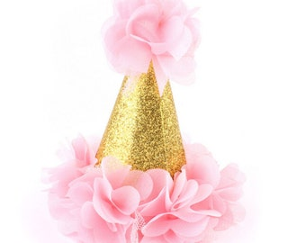 """Mini First Birthday Photoshoot Hat, 5"""" Smash Cake Party Hat,  Birthday Crown, Birthday Photo Prop Pink Party Hat Fabric Glitter Hat Gold One"""