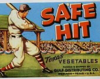 Vintage SAFE HIT Texas Vegetable Crate Label, Baseball Fruit Crate Label