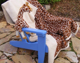 Giraffe Faux Fur Baby Toddler Blanket Lambs Wool Big Warm Throw 40X60 Nersary Crib Bedding Brown and Cream Soft Quality Nice Gift Boy Girl