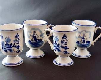 Blue and White Delftware Windmill and Flower Pedestal Mugs - Holland Pottery - Set of 4