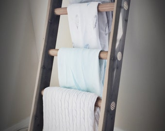 Wooden Blanket Ladder - Baby Blanket Storage - Rustic Natural Stain - Tall Wood Ladder