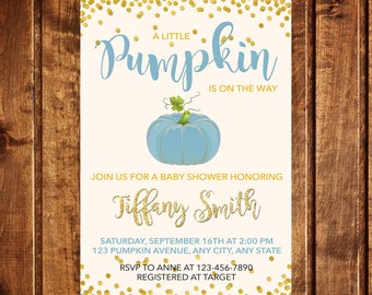 Pumpkin Baby Shower Invitation, Pumpkin Invitation, Fall Baby Shower Invitation, A little pumpkin is on the way baby shower invitation, boy
