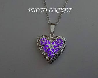 Purple Heart Photo Locket - Memory Locket Necklace - Christmas gift - Glowing Jewelry - Best Friend Gift- Gifts For Her - Glowing Necklace
