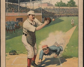 Vintage baseball game illustration, digital download