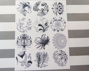 Stickers Black and White Floral Flowers Doodles Envelope Seals 24 Stickers