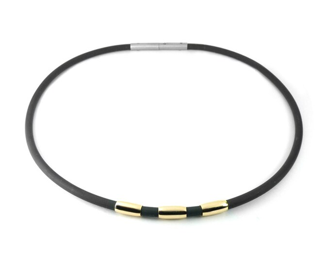 Black Rubber and Gold Mens Necklace Modern Mens Jewelry